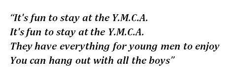 """Lyrics of """"Y.M.C.A."""""""