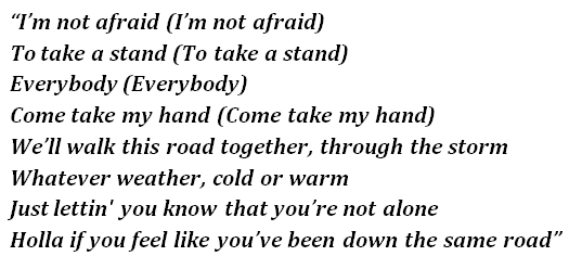 "Lyrics of ""Not Afraid"""