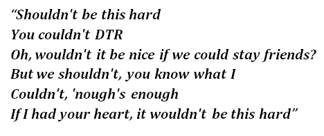 "Lyrics of ""Shouldn't Couldn't Wouldn't"""