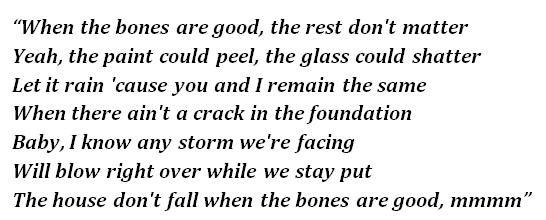 "Lyrics of ""The Bones"""