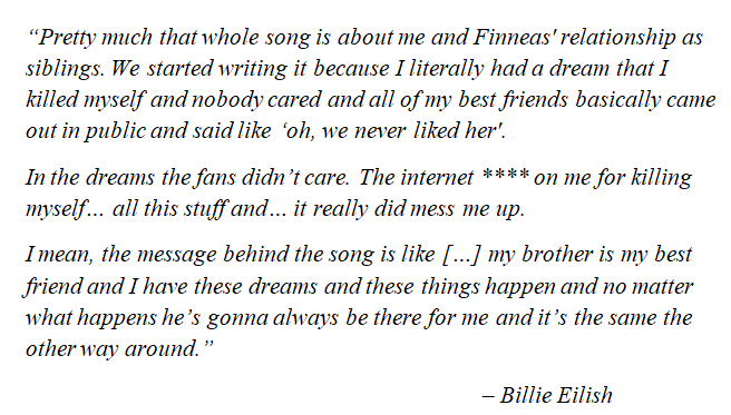 """Billie Eilish talks about the meaning of """"Everything I Wanted"""""""