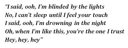 "Lyrics of ""Blinding Lights"""