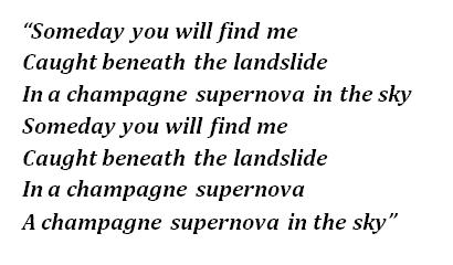 "Lyrics of Oasis' ""Champagne Supernova"""