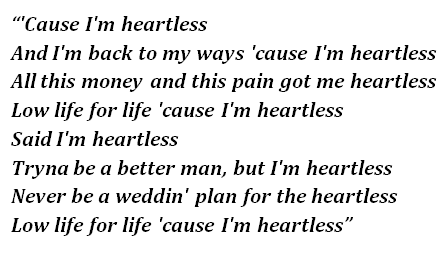 "Lyrics of ""Heartless"""