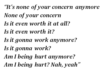"""Lyrics of """"None of Your Concern"""""""