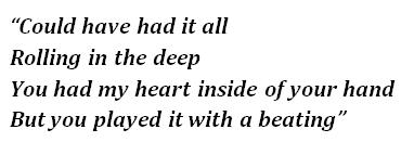 "Lyrics of ""Rolling in the Deep"""