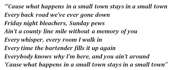 """Lyrics of """"What Happens in a Small Town"""""""