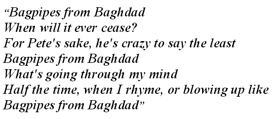"""Lyrics of """"Bagpipes from Baghdad"""""""