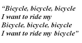 "Lyrics of ""Bicycle Race"""