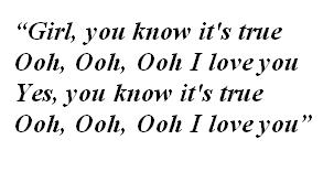 "Lyrics of ""Girl You Know It's True"" by Milli Vanilli"
