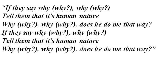 """Lyrics of """"Human Nature"""""""