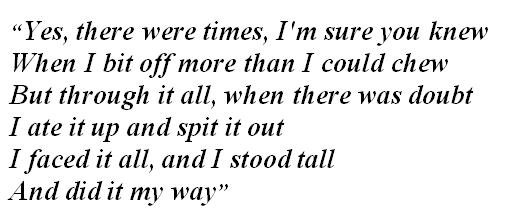 """Lyrics of """"My Way"""""""