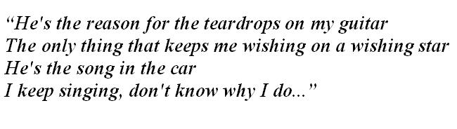 "Lyrics of ""Teardrops On My Guitar"""