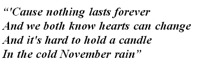 "Lyrics of ""November Rain"""