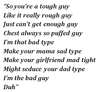 "Lyrics of ""Bad Guy"""