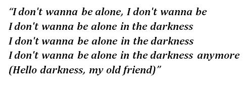 """Lyrics of """"Darkness"""""""