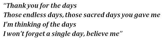 "Lyrics of ""Days"""