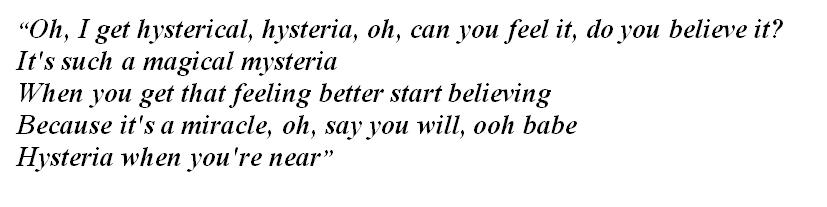 "Lyrics of ""Hysteria"""