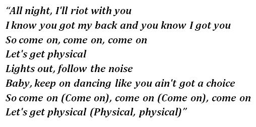 "Lyrics of ""Physical"""