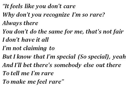 """Lyrics of """"Rare"""""""