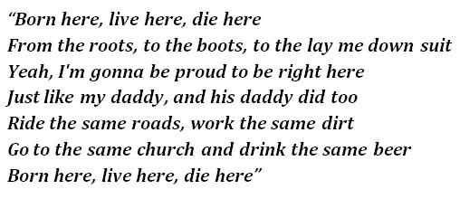 """Lyrics of """"Born Here Live Here Die Here"""""""