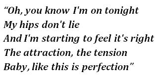 "Lyrics of ""Hips Don't Lie"""