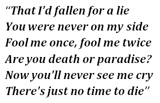 "Lyrics of ""No Time to Die"""