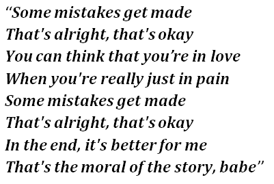 """Lyrics of """"Moral of the Story"""""""