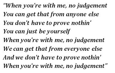 """Lyrics of """"No Judgement"""""""
