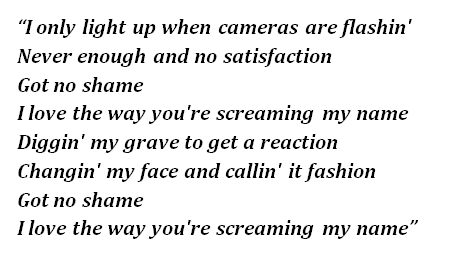 "Lyrics of ""No Shame"""