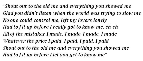 """Lyrics """"Old Me"""""""