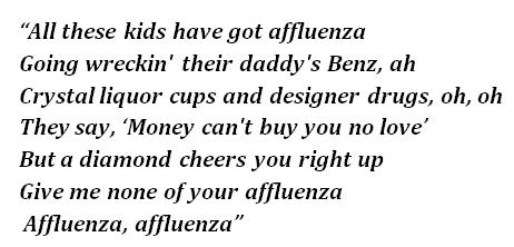 """Lyrics of """"Affluenza"""""""