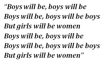 "Lyrics of ""Boys Will Be Boys"""