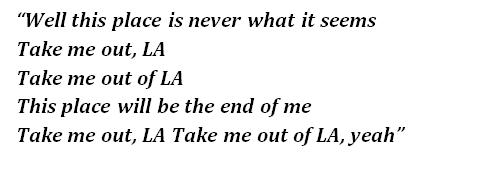 "Lyrics of ""Escape from LA"""