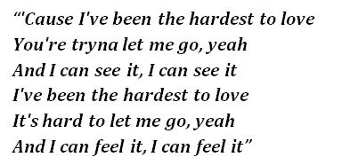 "Lyrics of ""Hardest to Love"""