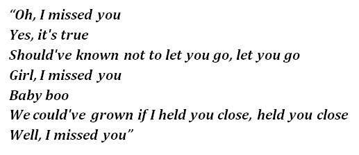 "Lyrics of ""Missed You"""