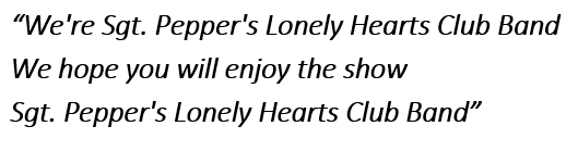Lyrics of Sgt. Pepper's Lonely Hearts Club Band