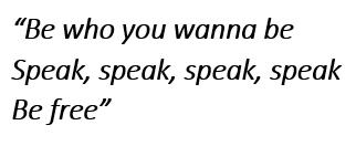 """Lyrics of """"Speak"""""""