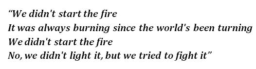 "Lyrics of ""We Didn't Start the Fire"""