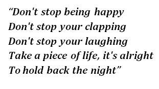 "Lyrics of ""Don't Stop..."""