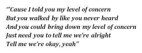 """Lyrics of """"Level of Concern"""""""
