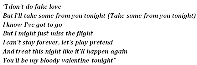 """Lyrics of """"Bloody Valentine"""""""