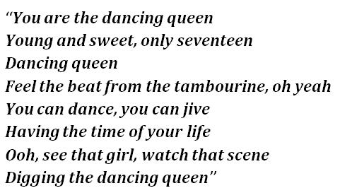 """Lyrics of """"Dancing Queen"""""""