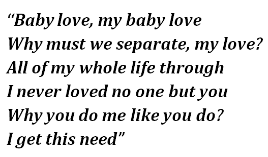 "Lyrics of ""Baby Love"""