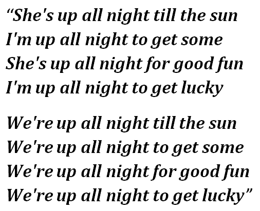 "Lyrics of ""Get Lucky"""