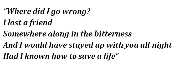 """Lyrics of """"How To Save a Life"""""""