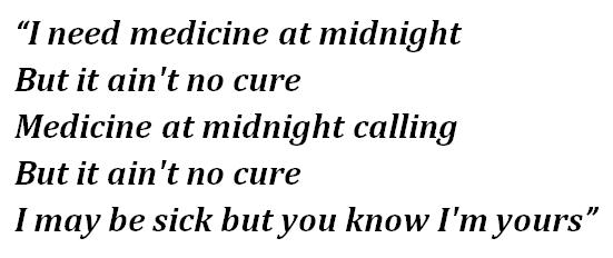 """Lyrics of """"Medicine at Midnight"""""""