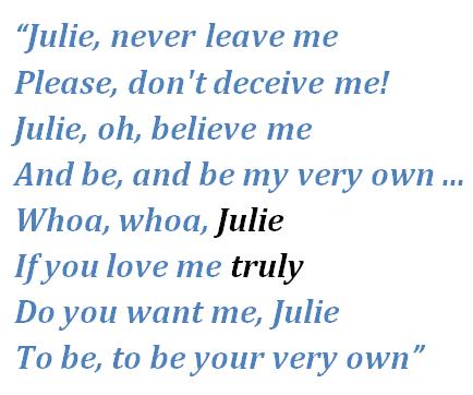 "Lyrics of ""Oh Julie"""