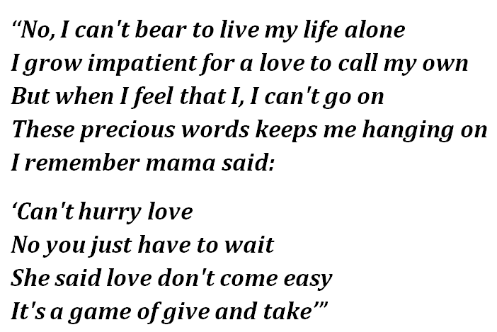 """Lyrics of """"You Can't Hurry Love"""""""