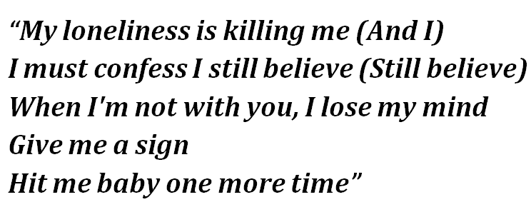 "Lyrics of ""...Baby One More Time"""